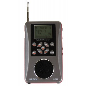 Degen DE28 3-in-1 Rechargeable AM FM Shortwave Radio, Radio and Voice Recorder and MP3 Player with Built-in Micro SD TF Card Reader