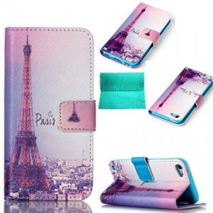Moment Dextrad [Stand Feature][Slim Fit] Flip Premium Style PU Leather Wallet with [Card Slot],Cash Compartment Cover for iPod Touch 5 5th Generation(Eiffel Tower Pattern)