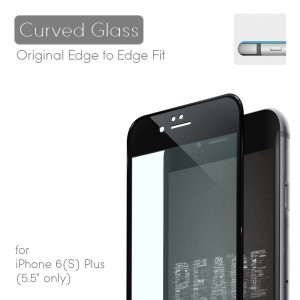 TOPVISION 0.35MM Curved Edge Tempered Corning Glass Screen Protector for iPhone 6 Plus/6S Plus - Black