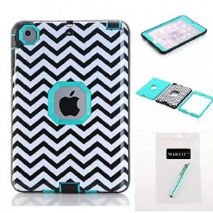 iPad Mini Case,iPad Mini 2 Case,iPad Mini 3 Case,MAKEIT [Wave Pattern] 3in1 Hybrid Shockproof Hard Plastic with Soft TPU Triple Layer Armor Protective Case Cover For iPad Mini 1/2/3 (Wave Green)