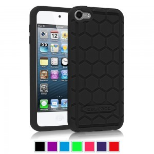Fintie iPod Touch 6th Generation Case - [Shock Proof] Anti Slip [Honey Comb Series] Silicone Protective Case Cover [Kids Friendly] for Apple iPod Touch 6 / iPod Touch 5, Black