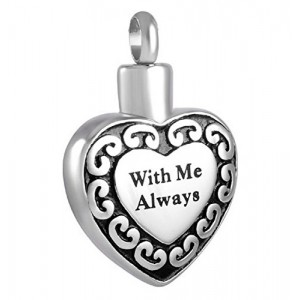 "Lauren Annabelle Studio ""With Me Always Heart"" Cremation Urn Necklace Stainless Steel Pendant Jewelry"