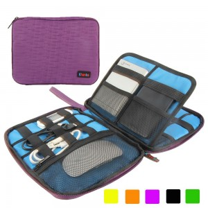 Khanka Portable Universal Electronics Accessories Travel Organizer / Various Usb Cable, Phone, Charger, Hard Drive Case / Flash Disk / Portable Power Bank Case Bags (Large-Purple)