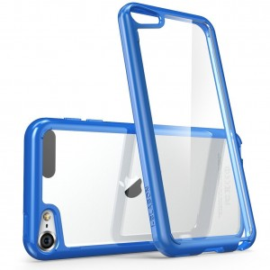iPod Touch 6th Generation Case, [Scratch Resistant] i-Blason **Clear** [Halo Series] for Apple iTouch 5/6 Hybrid Bumper Case Cover (Clear/Navy)