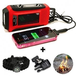 Horizons Tec HT-747 Emergency NOAA Weather Radio. Solar and Hand Crank Powered, Mobile Cell Phone Charger and Led Flashlight. Paracord Survival Kit Bracelet Magnesium Flint Fire Starter Compass Whistle