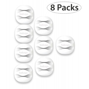 BELUGA Cable Clips and Cord Management System with 3M Back-Adhesive, Desktop Cable Organizer and Computer, Electrical, Charging or Mouse Cord Holder (Pack of 8) (White)