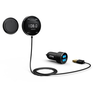 Lumsing Bluetooth 4.0 In Car Kit Adapter Hands-Free Wireless Calling Streaming Dongle LCD FM Transmitter +10W USB Charger + Mounts (Microphone)
