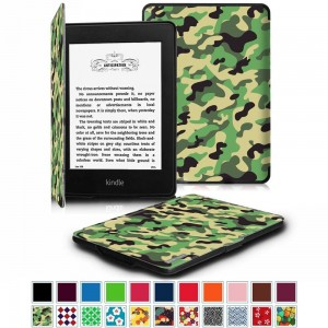 Fintie Case for Kindle Paperwhite, [Blade Series] Premium Protective Leather Cover Auto Wake / Sleep for All-New Amazon Kindle Paperwhite (Fits All 2012, 2013, 2014 and 2015 Versions), Camo Green