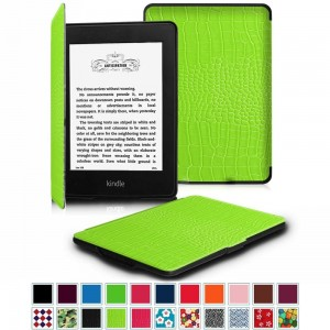 Fintie Case for Kindle Paperwhite, [Blade Series] Premium Protective Leather Cover Auto Wake / Sleep for All-New Amazon Kindle Paperwhite (Fits All 2012 2013 2014 and 2015 Versions), Crocodile Green