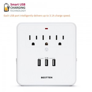 Bestten Wall Mount Surge Protector with Triple 2.4A USB Charging Ports (3.1A Total), 3 AC Outlet Plugs and 2 Slide Out Phone Holders for iPhone, iPad and Others, ETL Certified