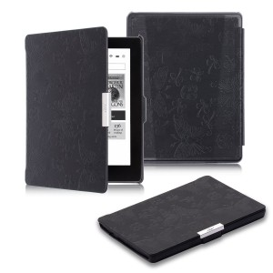 "KOBO AURA Case, icci KOBO AURA Sleep Cover [Premium Butterfly] [Smart] Leather Case [Best] Auto Sleep Wake Up Sleeve [Standby] For KOBO AURA 6"" - Black"