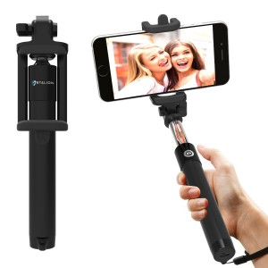 Selfie Stick : Stalion Selfy Handheld Extended WIRED Monopod Portrait Taker and Video Recorder (Jet Black) UNIVERSAL FIT for iPhone 6 6s Plus, Galaxy S7 S6 Edge+ Note 5 and smartphones