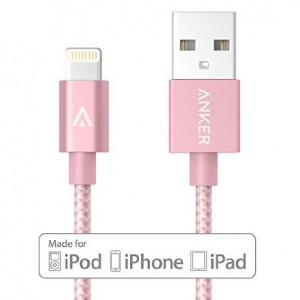 Anker 3ft Nylon Braided USB Cable with Lightning Connector [Apple MFi Certified] for iPhone 7/7 Plus 6/6s Plus 5s/5c/5, iPad Pro, Air 2 and More (Rose Gold)