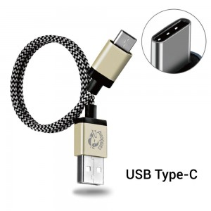 Type C Cable, Cambond 1ft Short Braided Reversible 2.0 USB Cable for LG G5, Nexus 6P, 5X, OnePlus Two, New Macbook 12 inch, Lumia 950 / 950XL, Pixel C, More (Gold)