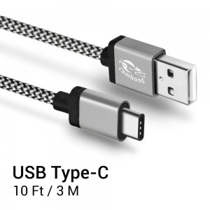 Type C, Cambond 10ft Long Braided USB-C With Reversible Connector for LG G5, Nexus 6P, 5X, OnePlus 2, Lumia 950, 950XL, New Macbook 12 inch, ChromeBook Pixel, Nokia N1, Pixel C (Gray)