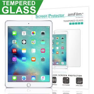 amFilm iPad Pro 12.9 inch Tempered Glass Screen Protector for Apple iPad Pro 2016 0.33mm 2.5D Rounded Edge In Shatterproof Packaging (1-Pack) [Lifetime Warranty]