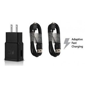 OEM Authentic Samsung 2 Amp Fast Adaptive Charger+2 OEM Samsung 5' Micro USB 2.0 Data Charging Cables