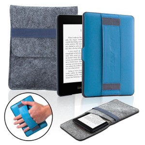 SAVFY Kindle Paperwhite Case Cover, Back Case with Hand Strap + Protection Bag for Amazon All-New Kindle Paperwhite 2012, 2013, 2014 and 2015 New 300 PPI - Blue