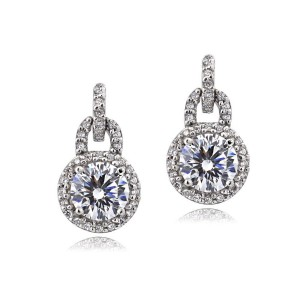 Bria Lou Sterling Silver 100 Facets Cubic Zirconia Round Dangle Earrings(2cttw)
