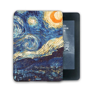 Kandouren Case Cover for Kindle Paperwhite - Van gogh Starry Night Smartshell,Light Slim Leather Cover with Autowake(Fit 6 inch Amazon Kindle Paperwhite 2013 2015 2016),blue color book