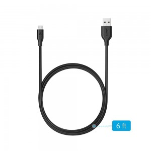 Anker PowerLine Micro USB (6ft) - Durable Charging Cable, with Aramid Fiber and 10000+ Bend Lifespan for Samsung, Nexus, LG, Motorola, Android Smartphones and More (Black)