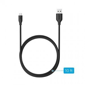 Anker PowerLine Micro USB (10ft) - Charging Cable, with Aramid Fiber and 10000+ Bend Lifespan for Samsung, Nexus, LG, Motorola, Android Smartphones and More (Black)