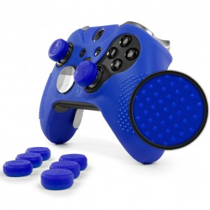ElitePro Grip STUDDED Skin Set for Xbox One ELITE Controller by Foamy Lizard  Sweat Free Silicone Skin w/ Raised Anti-slip Studs PLUS set of 8 QSX-Elite Thumb Grips (SKIN + QSX-E GRIPS, BLUE)