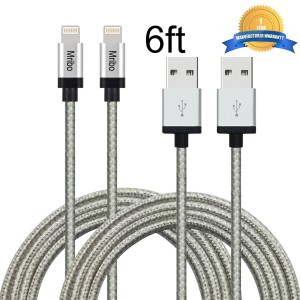 Mribo 2pcs 8Pin Lightning Cable Nylon Braided Charging Cable Extra Long USB Cord for iphone 6s, 6s plus, 6plus, 6,5s 5c 5,iPad Mini, Air,iPad5,iPod on iOS9. With Aluminum Connector.(10FT)