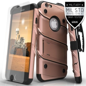 Zizo Dual Layer Military Grade  Kickstand Bolt Holster Cover with 9H Tempered Glass Screen Protector for iPhone 6/ 6s - Rose Gold/ Black