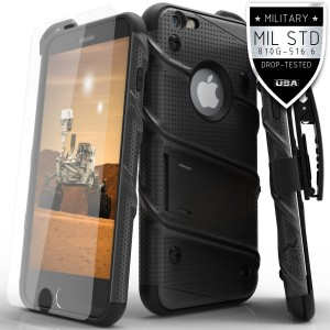 Zizo [Bolt Series] iPhone 6s Plus Case w/ [iPhone 6s Plus Screen Protector] Kickstand [Military Grade  Drop Tested] Holster - iPhone 6 Plus / 6s Plus