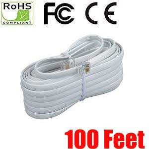 iMBAPrice 100 Feet Long Telephone Extension Cord Phone Cable Line Wire - White
