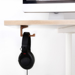 Vogek L Type Headphone Stand, Elegant Wooden Under-Desk Headphone Hanger, Universal On Ear Headphone Stand to place your Over Ear headhone Conveniently, suitable for home and office use
