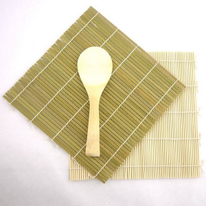 JapanBargain Green/Yellow Bamboo Sushi Kit Rolling Mat With Rice Paddle Set