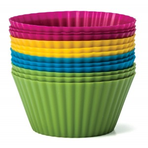 Zaza Kitchen Baking Essentials Silicone Baking Cups, Set of 12 Reusable Cupcake Liners in Four Colors - USE for