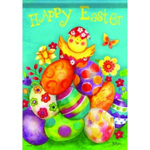 Carson Home Accents FlagTrends Glitter Garden Flag, Easter Chick and Eggs