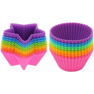 Bargain Paradise Corp Silicone Baking Cups-24 Piece- Food Grade  Silicone Baking Cups, Star and Round Shape-comes in Six