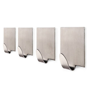 K.ONE KONE Bathroom 3M Self Adhesive Hook for Towel and Robe , Brushed Stainless Steel, 4 - Pieces