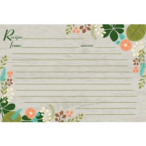 Meadowsweet Kitchens Vintage Flowers Recipe Card Set, Gray/Green/Brown