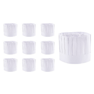 """Super Z Outlet Disposable 9"""" Paper Chef Tall Hat Set for Home Kitchen, Food Restaurants, Classes (10 Pack) by Su"""