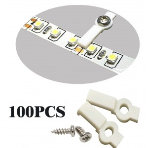 SpiritLED 100 Lots Strip Light Mounting Bracket Fixing Clip-One Side Fixing,Screws included (100, Hollow Distance 12.9mm (Ideal for strip width 12mm))