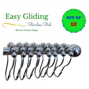 Romaine Leaf Shower Curtain Hooks - 100% Stainless Steel - Polished Chrome - Set of 12 Rings - Easy Gliding