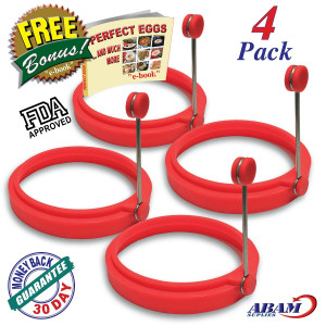 ABAM NEW Chef Silicone Egg Ring- Pancake Breakfast Sandwiches - Benedict Eggs - Omelets and More Nonsti