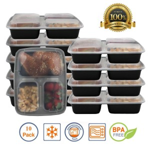 Pakkon 3 Compartment Bento Box / Durable Plastic Lunch Container with Airtight Lid • Use For 21 Day Fix, Meal Prep and Portion Control • Lunch Box For Kids and Adults [10 pack]