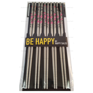 Happy Sales 5 Pairs Cherry Blossom Stainless Steel Chopsticks