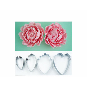 OKUBOX BT05 Set of 4 Herbaceous Peony Petral Cutter Decor Fondant Cake Cutters for Cupcake Stainle