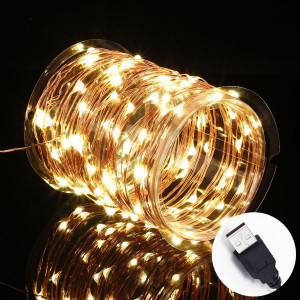 Innotree LED Fairy Lights, Waterproof Starry String Lights USB Plug In for Bedroom Indoor Outdoor 33 Ft Copper Wire 100 LED Bulbs Warm White