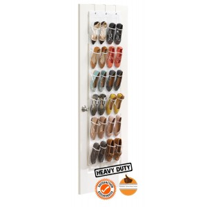 Zober Clear Over The Door Hanging Shoe Organizer | 24 Pocket Shoe Storage Rack | White