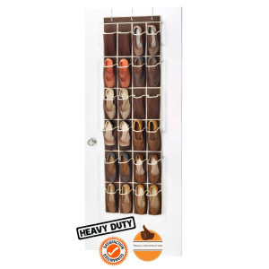 Zober Over the Door Shoe Organizer - 24 Breathable Pockets, Hanging Shoe holder for Maximizing Shoe Storage.