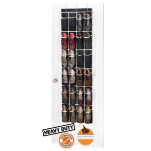 Zober Canvas over the Door Hanging Shoe Organizer 24 Pocket - Black