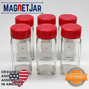 MagnetJar Spice Jar - Sifter Flip Cap / 6 Pack (4oz - Medium, Red)